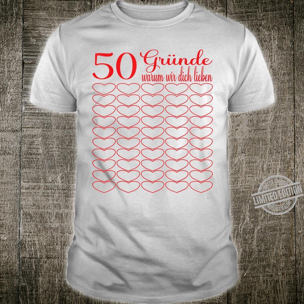 50th Birthday 50 Years 50 Reasons Shirt