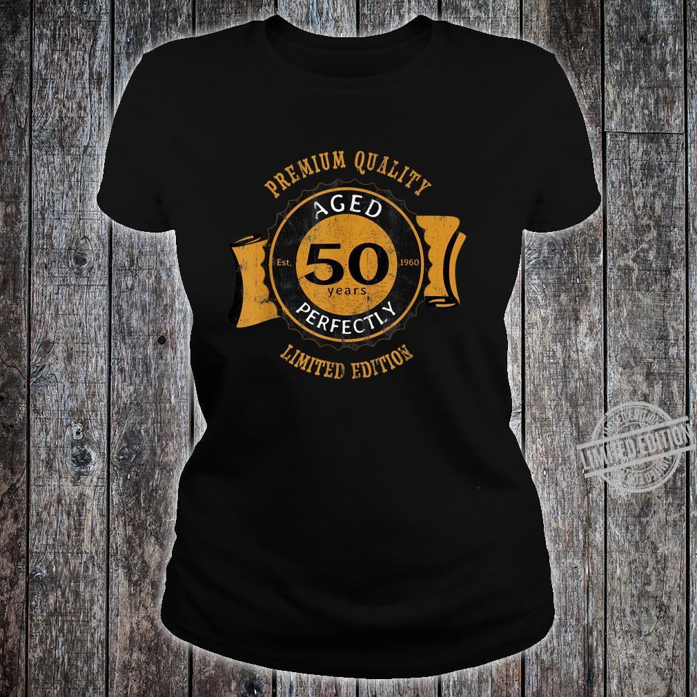 50th Birthday Vintage Distressed Aged Perfectly Shirt ladies tee