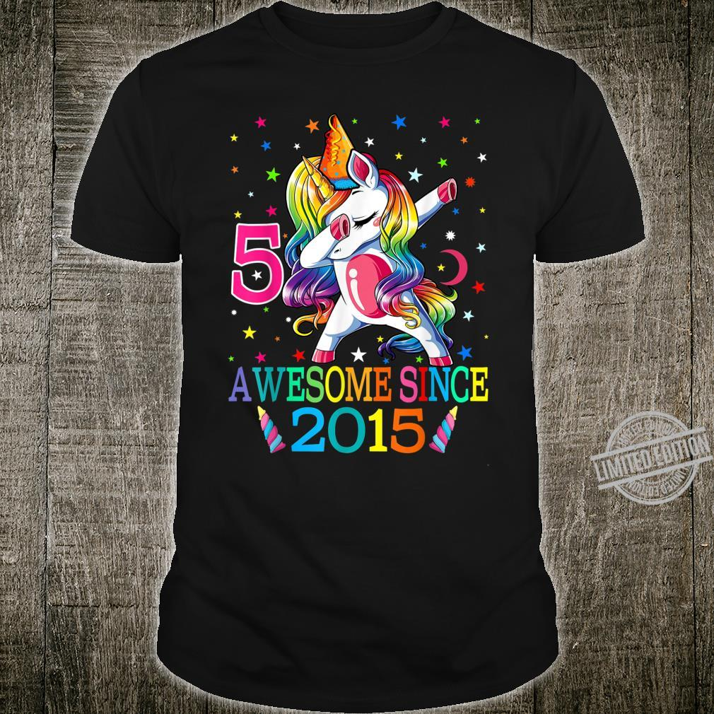 5th Birthday Dabbing Unicorn Party For 5 Years Old Girl Shirt