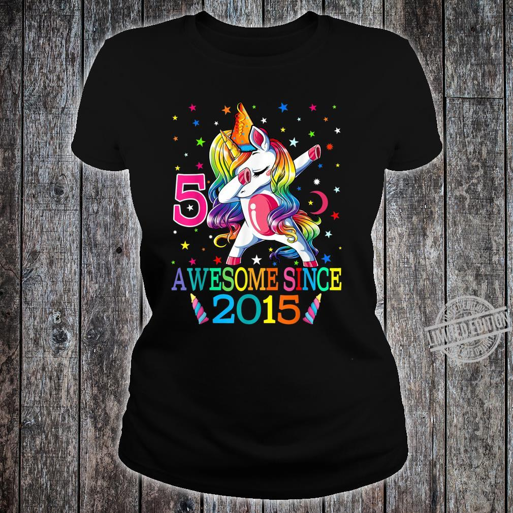 5th Birthday Dabbing Unicorn Party For 5 Years Old Girl Shirt ladies tee