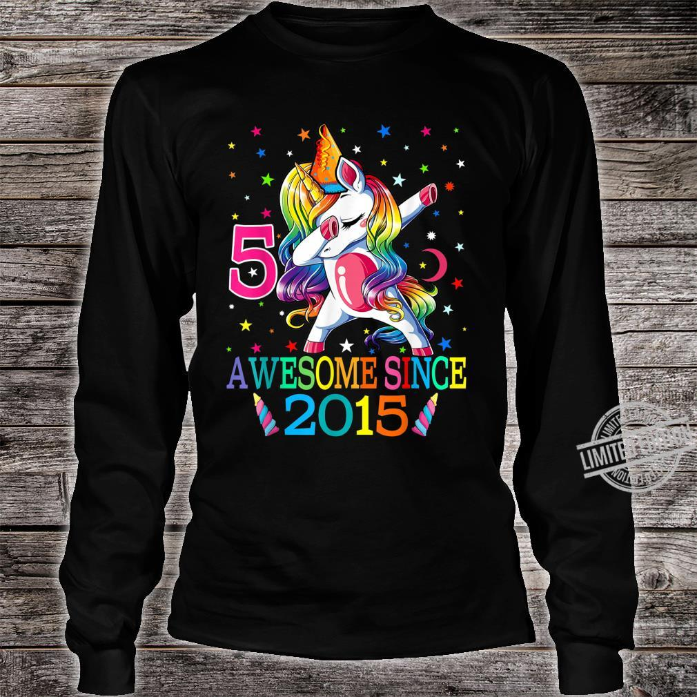 5th Birthday Dabbing Unicorn Party For 5 Years Old Girl Shirt long sleeved