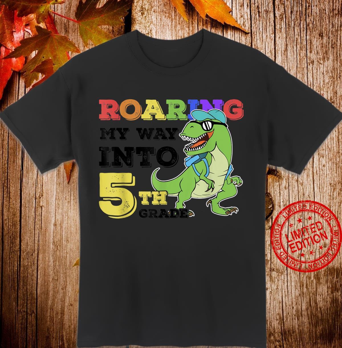 5th Grade Back to School Cartoon Dinosaur Shirt