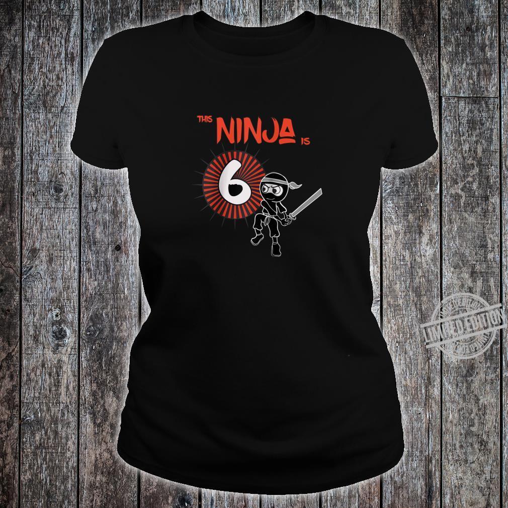6th Birthday Ninja 6 Year Old Son Born 2014 Shirt ladies tee