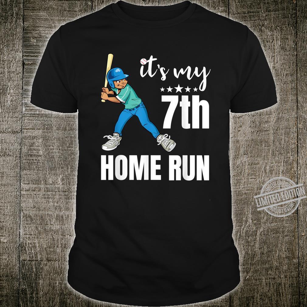 7 Year Old Bday It's My 7th Home Run Baseballs Shirt