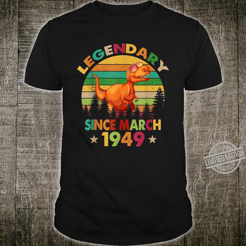 71 Yrs Old Dinosaur Birthday Legend Since March 1949 Shirt
