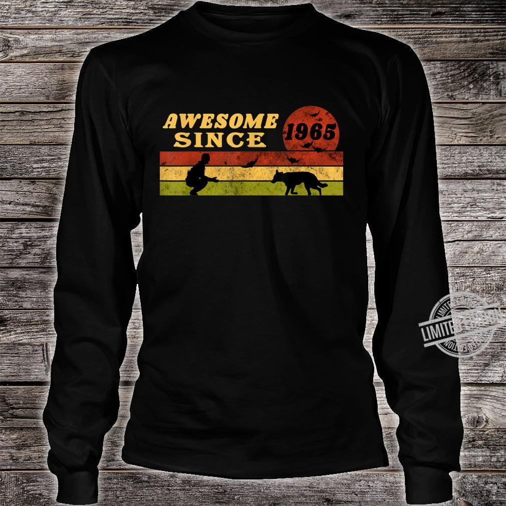 80s Vintage Retro Dog 55th Birthday, Awesome Since 1965 Shirt long sleeved