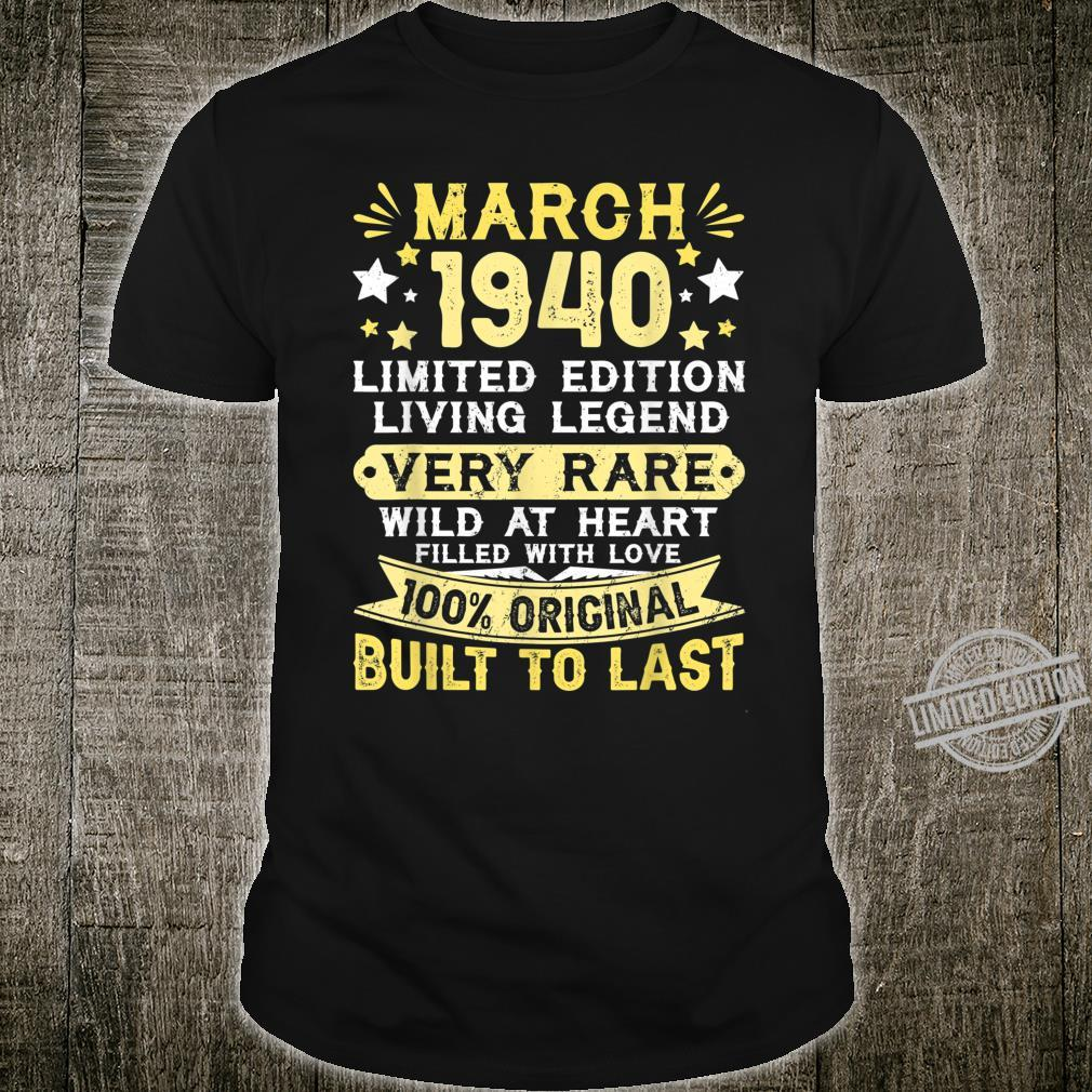 80th Birthday Him Her Born In March 1940 80 Yrs Old Shirt