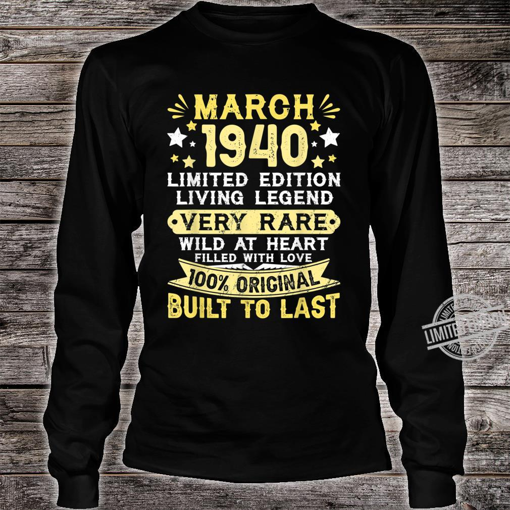 80th Birthday Him Her Born In March 1940 80 Yrs Old Shirt long sleeved
