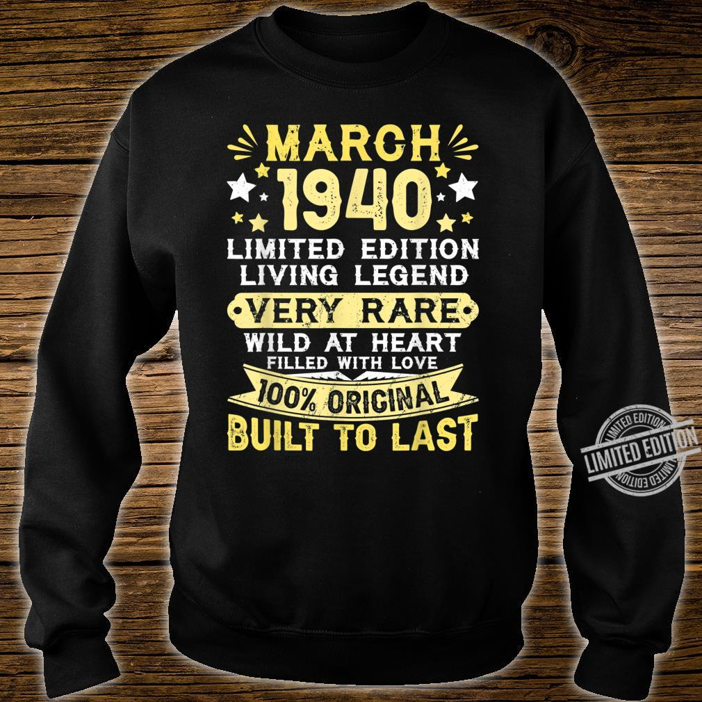 80th Birthday Him Her Born In March 1940 80 Yrs Old Shirt sweater