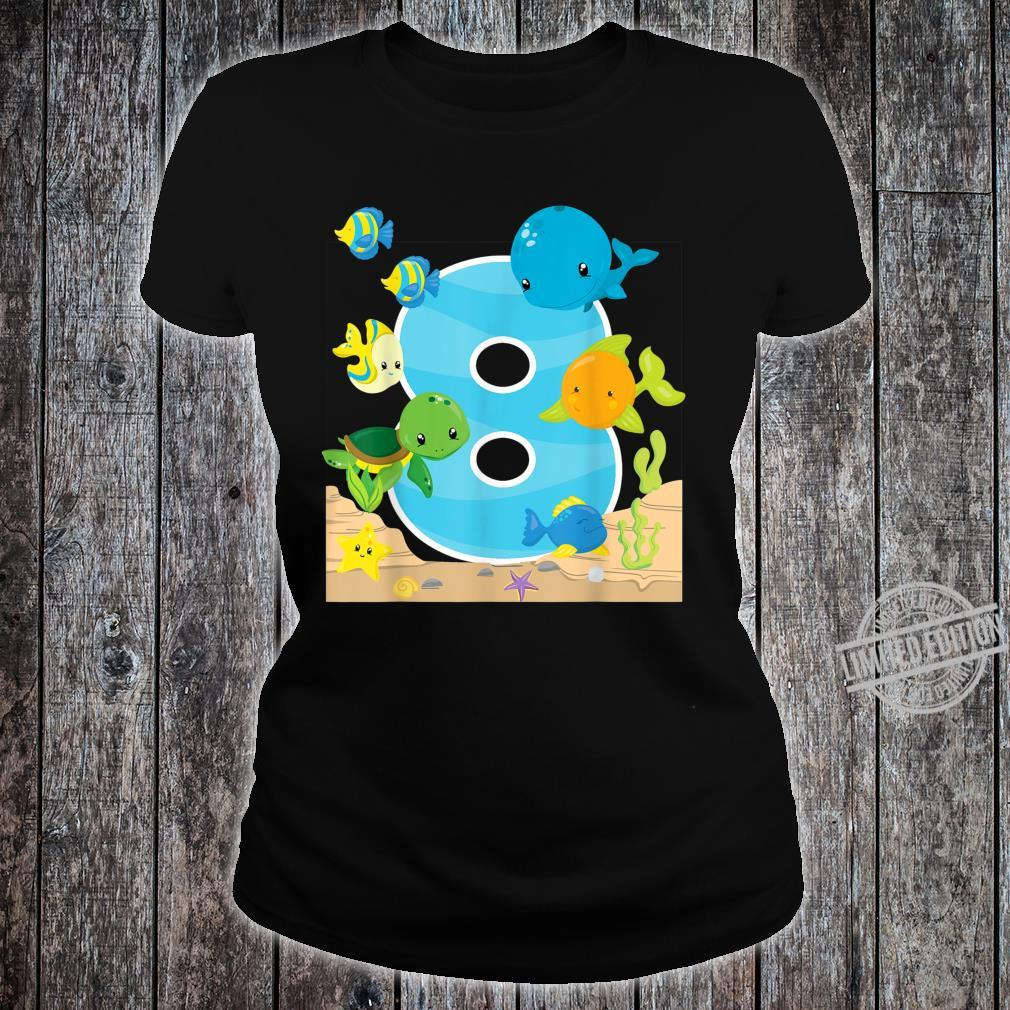 8th Birthday Party 8 Year Old Sea Fish Aquarium Birthday Kid Shirt ladies tee