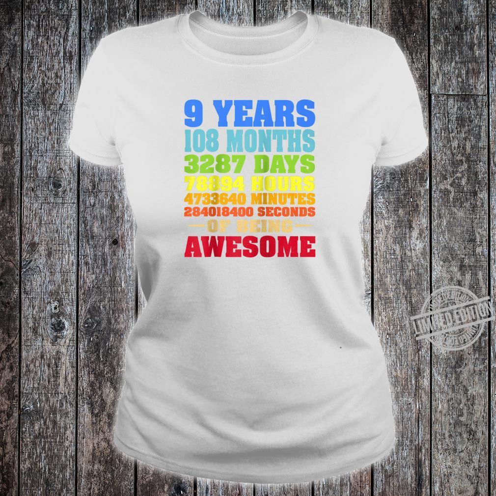 9 Years Old 9th Birthday Vintage Retro Shirt 108 Months Shirt ladies tee