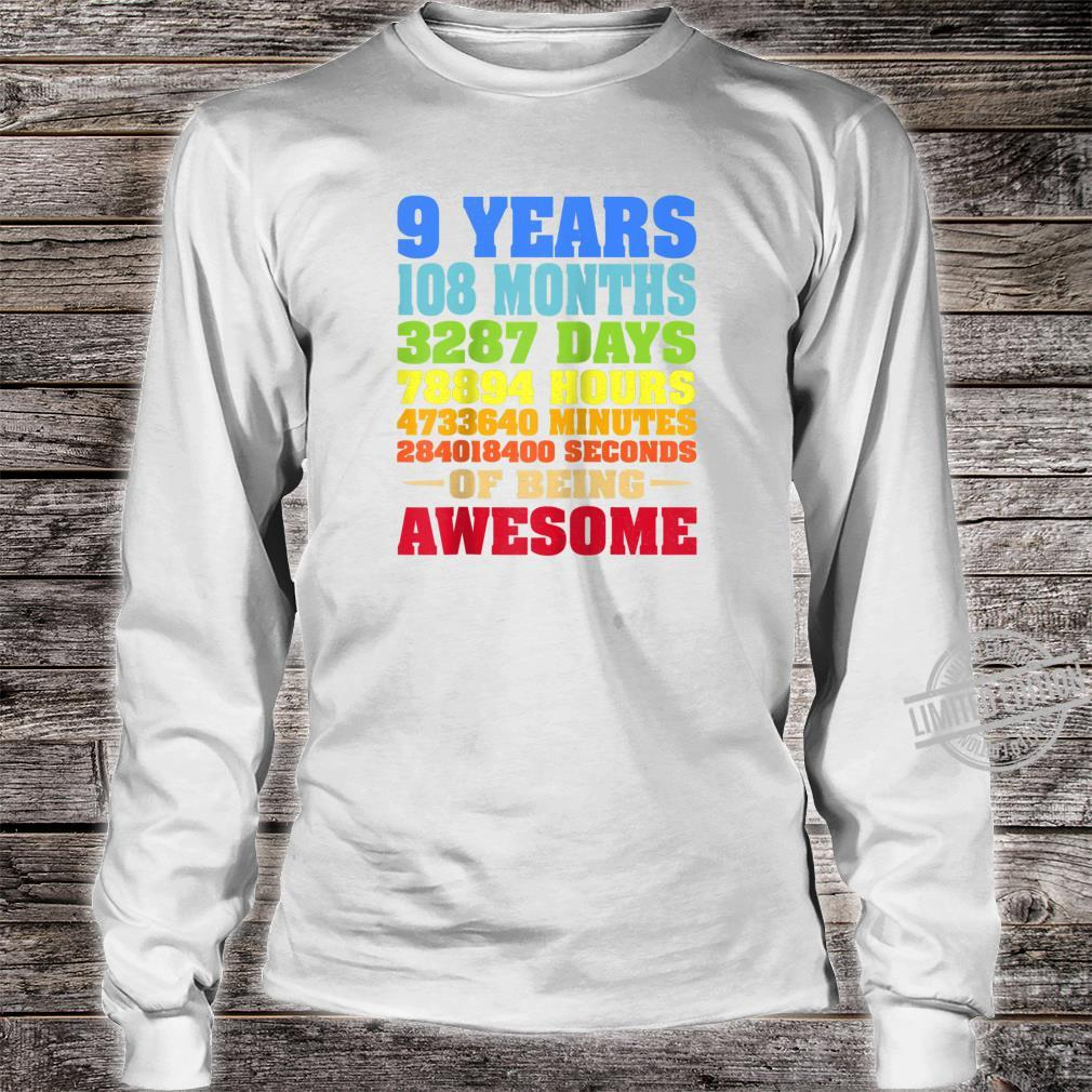 9 Years Old 9th Birthday Vintage Retro Shirt 108 Months Shirt long sleeved