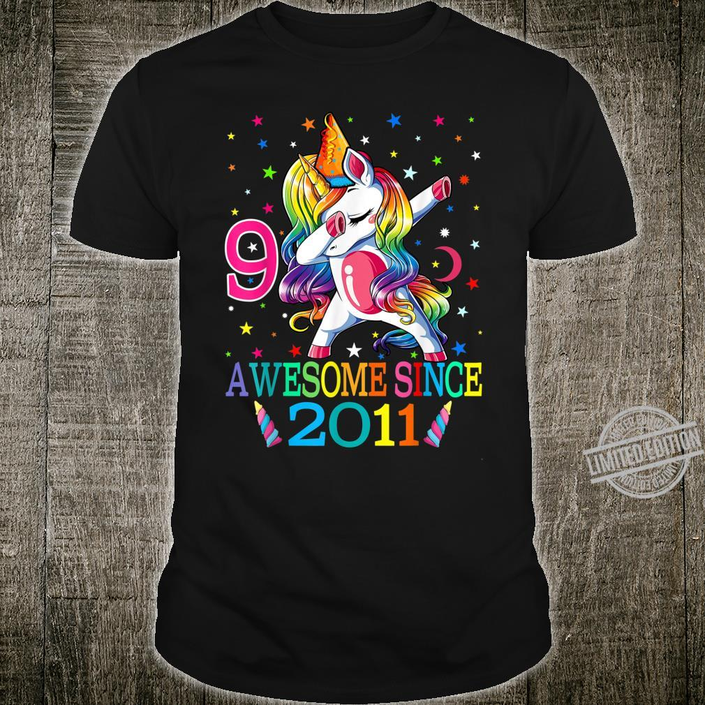 9th Birthday Dabbing Unicorn Party For 9 Years Old Girl Shirt