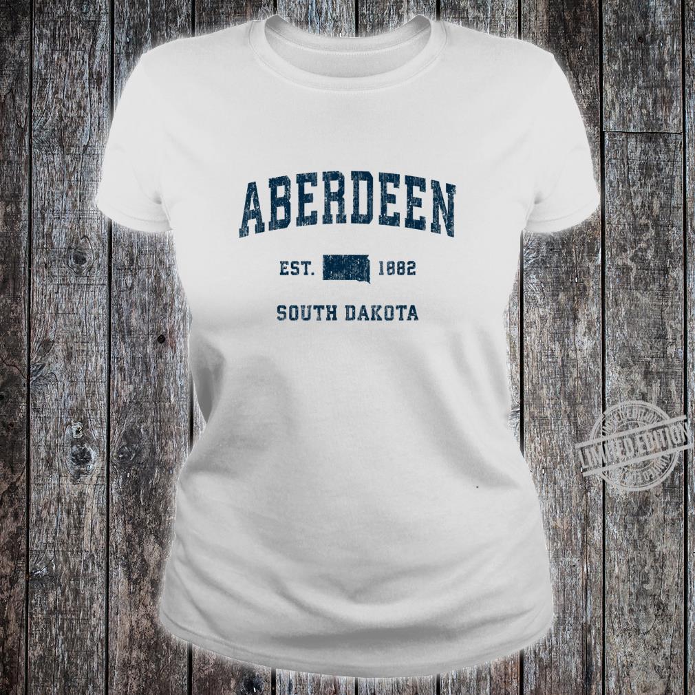 Aberdeen South Dakota SD Vintage Sports Design Navy Print Shirt ladies tee