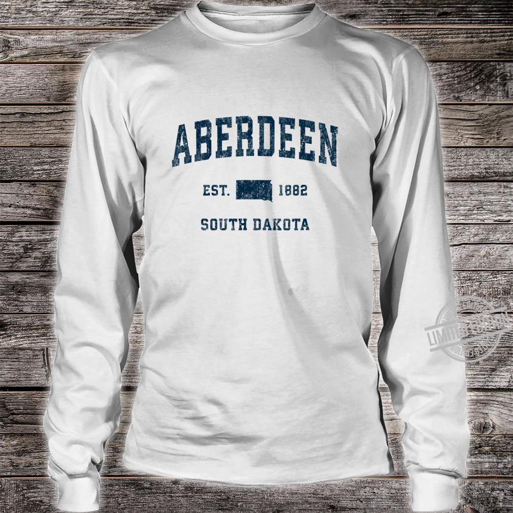 Aberdeen South Dakota SD Vintage Sports Design Navy Print Shirt long sleeved