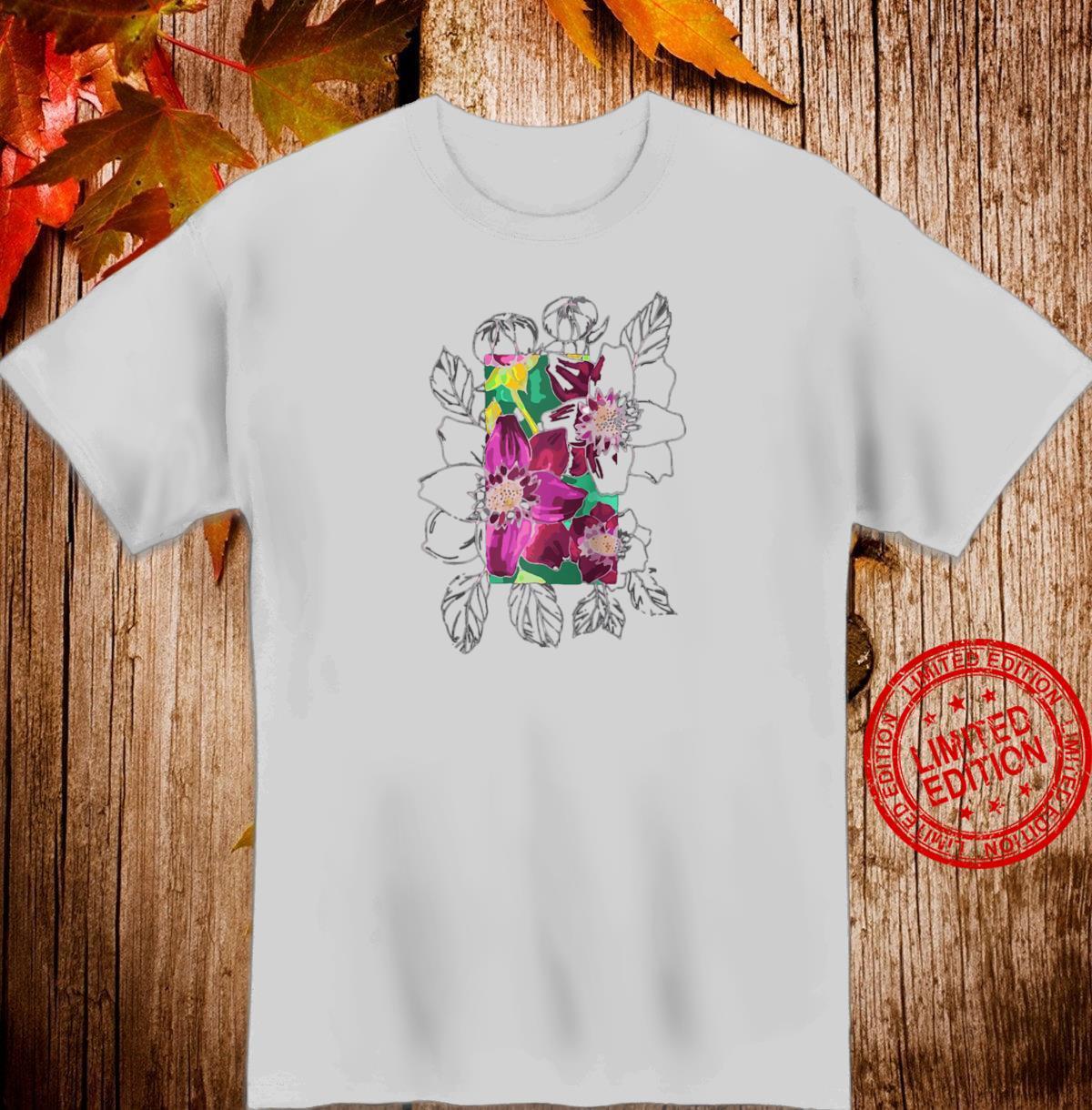 Abstract Line Flower Dahlias Shirt