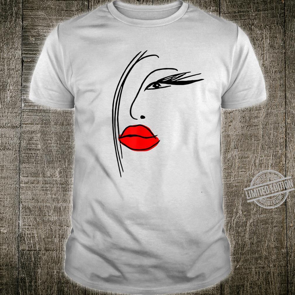 Abstrakt Frau Porträt Illustration Fashion Mode Rote Lippen Shirt