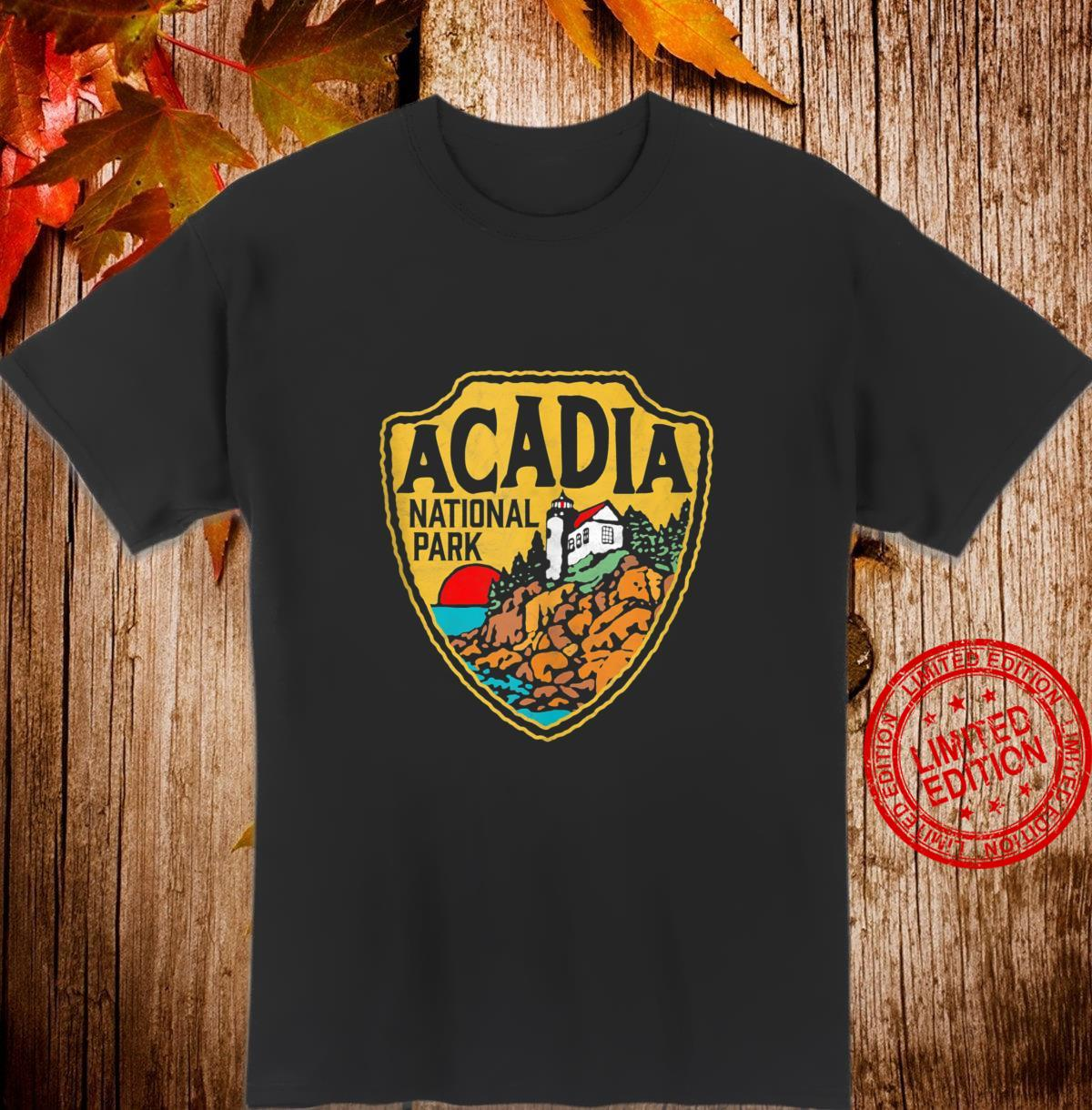 Acadia National Park Vintage Lighthouse Badge Distressed Shirt