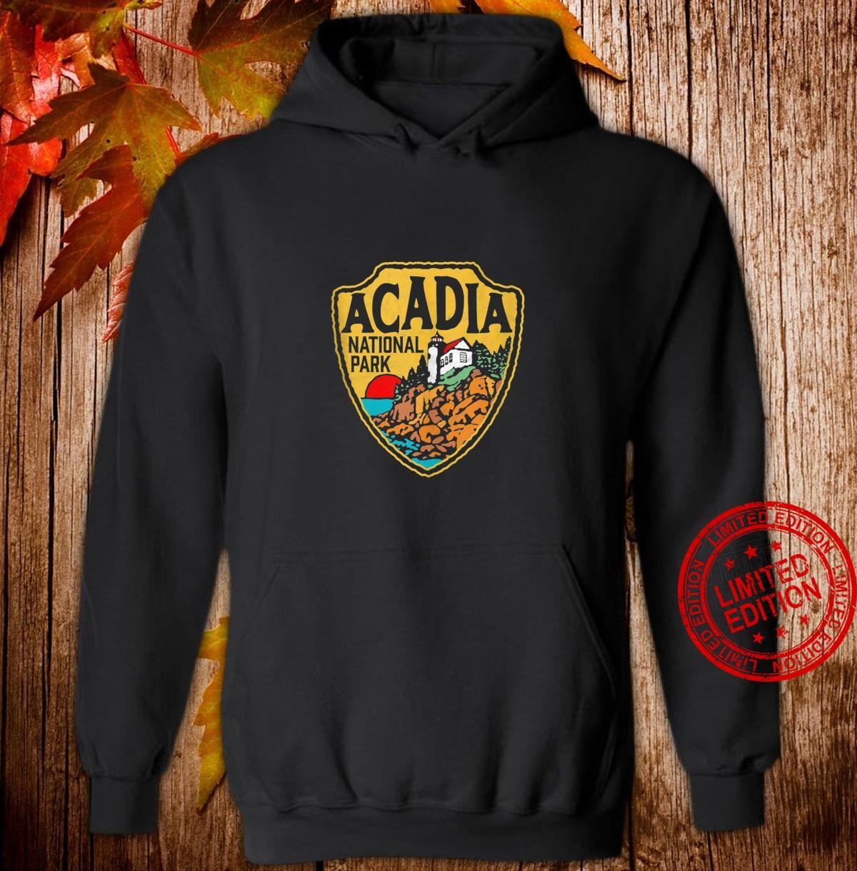 Acadia National Park Vintage Lighthouse Badge Distressed Shirt hoodie