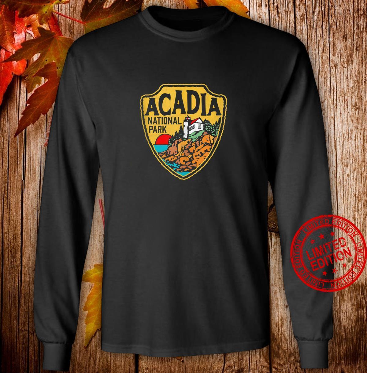 Acadia National Park Vintage Lighthouse Badge Distressed Shirt long sleeved