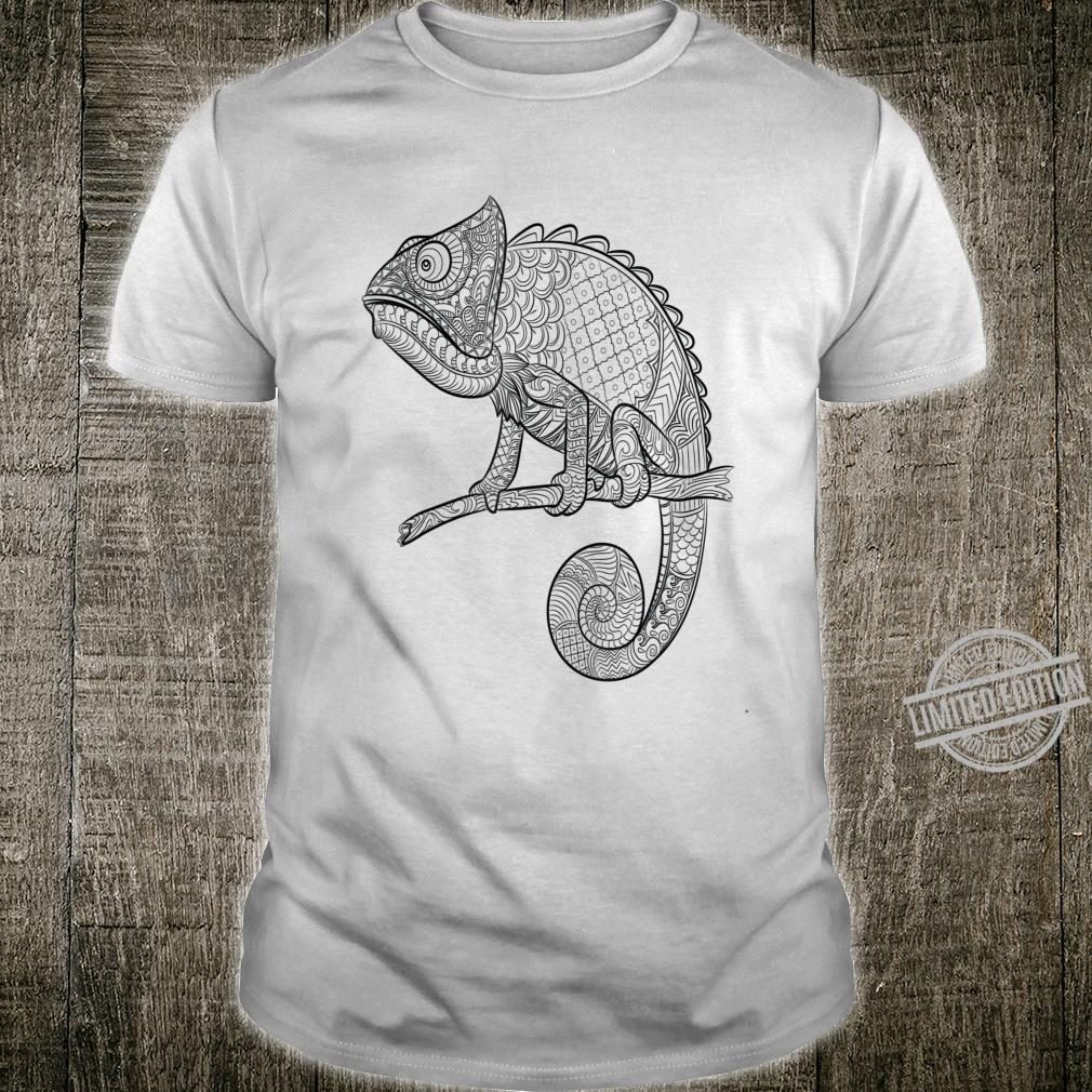 Adult Animal Coloring Book Style Lizard Shirt