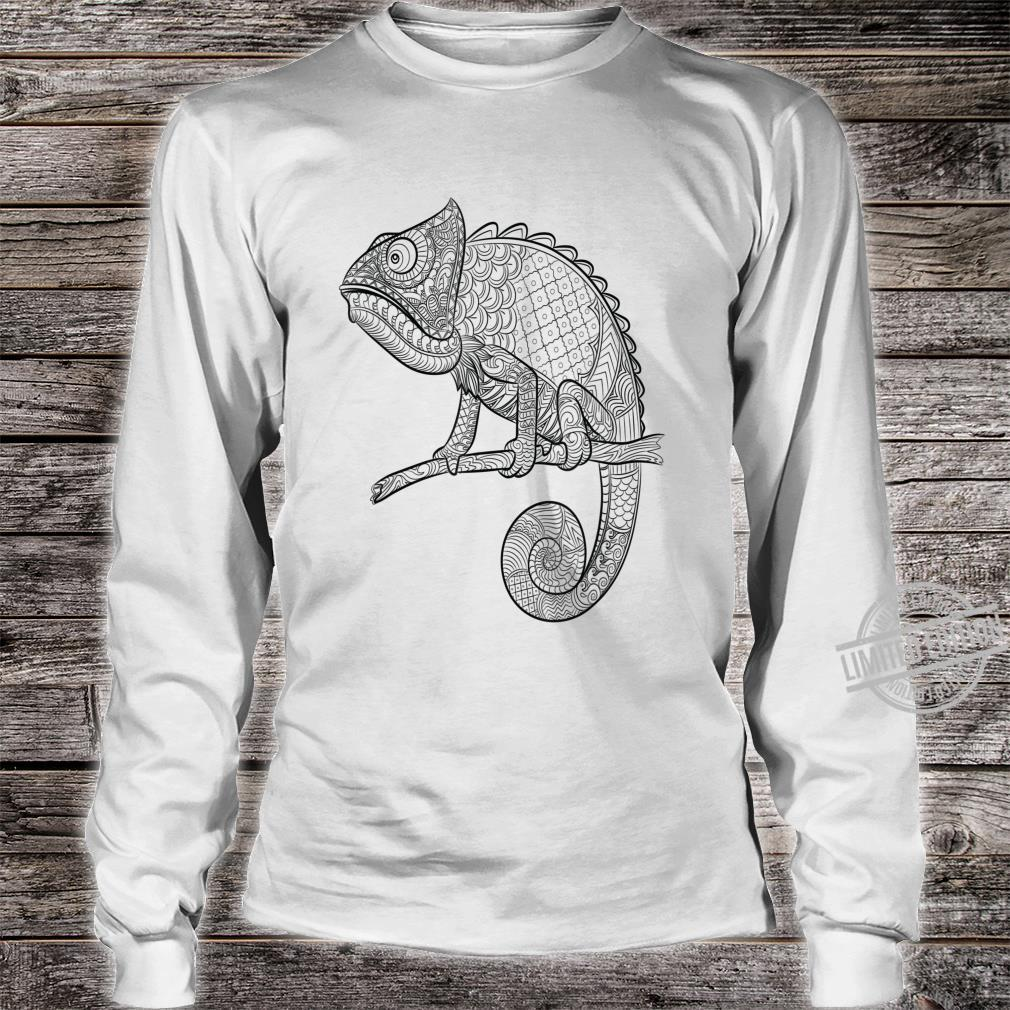 Adult Animal Coloring Book Style Lizard Shirt long sleeved