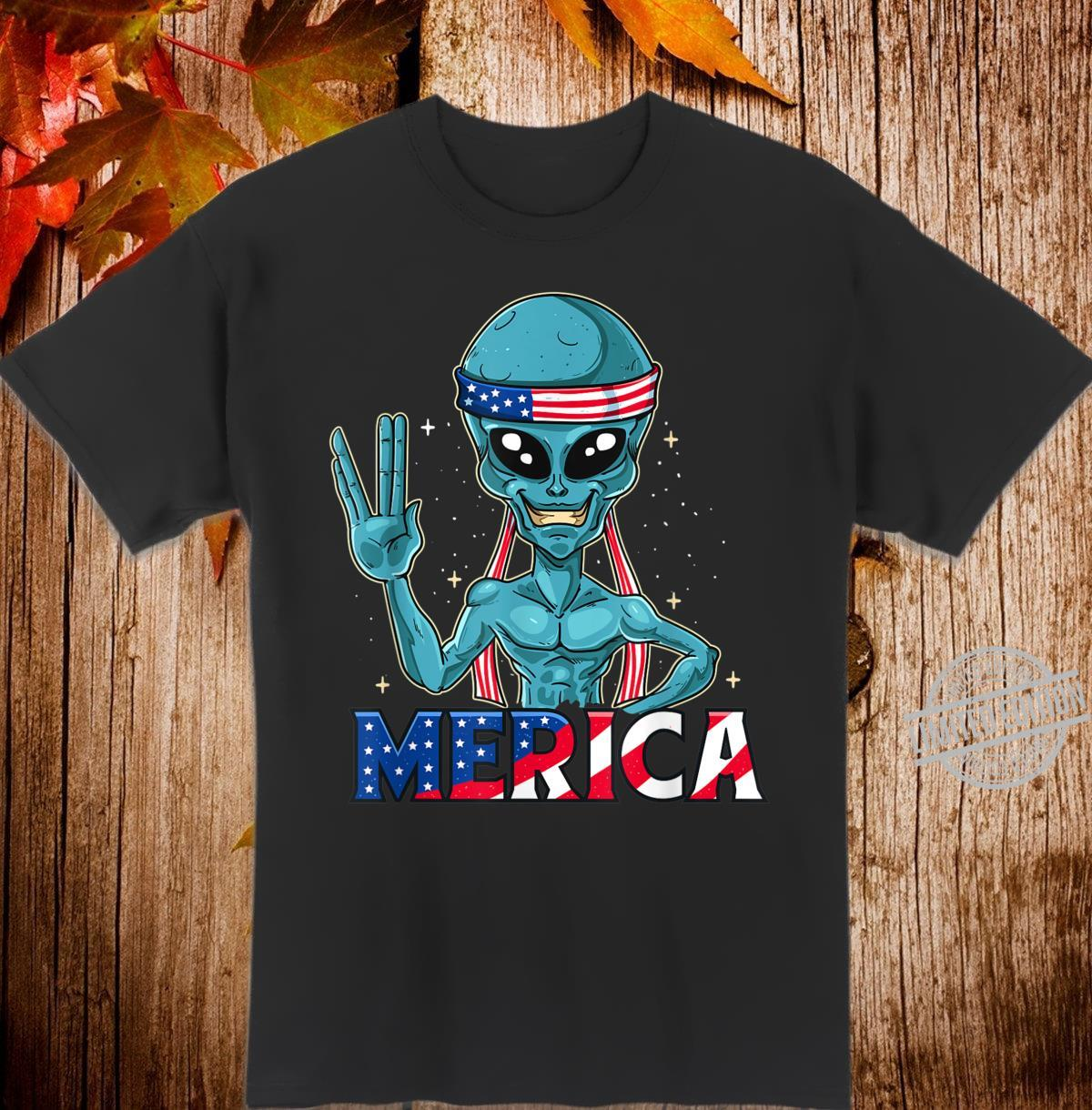 Alien Merica In American Flag Bandana 4th of July UFO Shirt