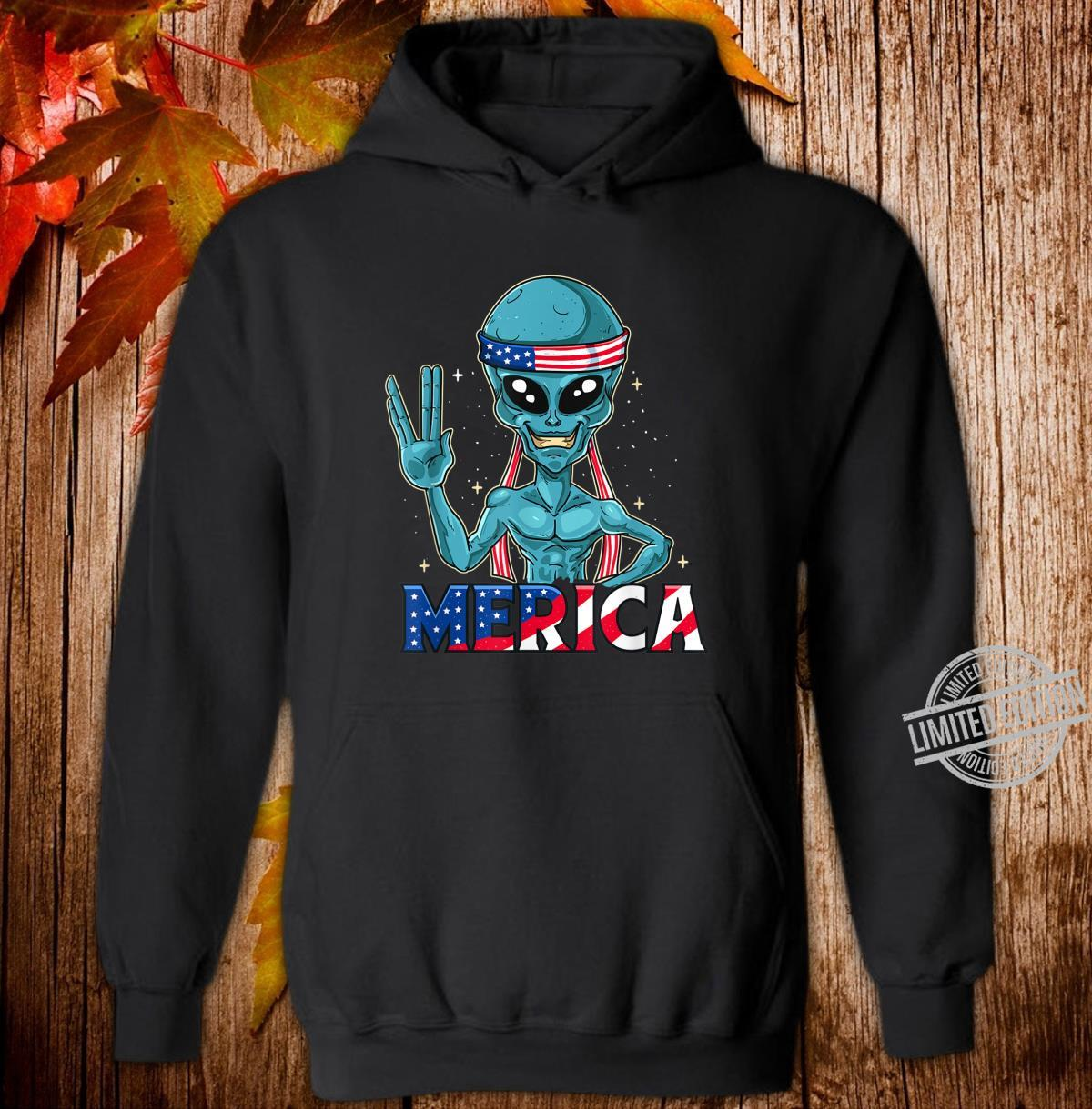 Alien Merica In American Flag Bandana 4th of July UFO Shirt hoodie