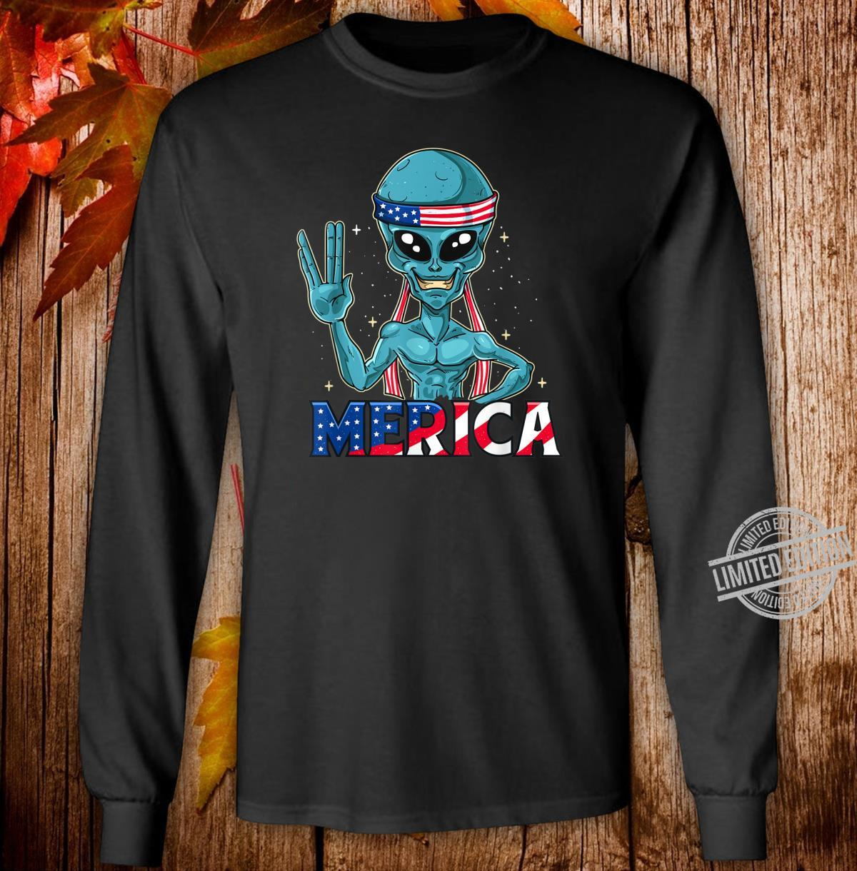 Alien Merica In American Flag Bandana 4th of July UFO Shirt long sleeved