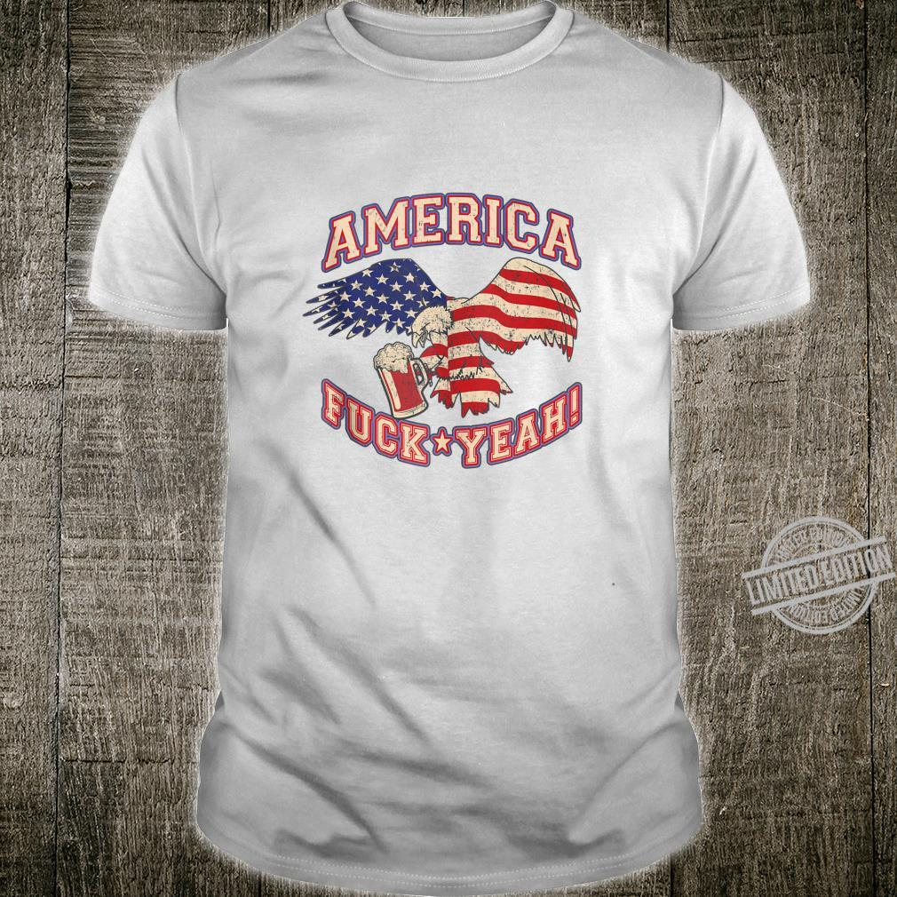 America Fuck Yeah Bald Eagle Beer 4th of July Vintage Shirt