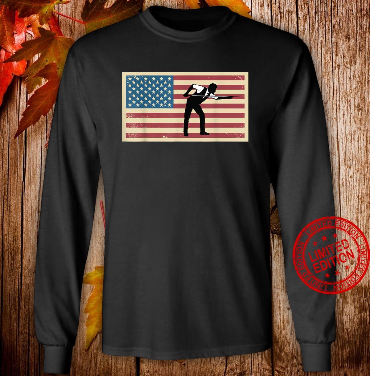 American Flag Billards Pride Billard Pool Player Shirt long sleeved