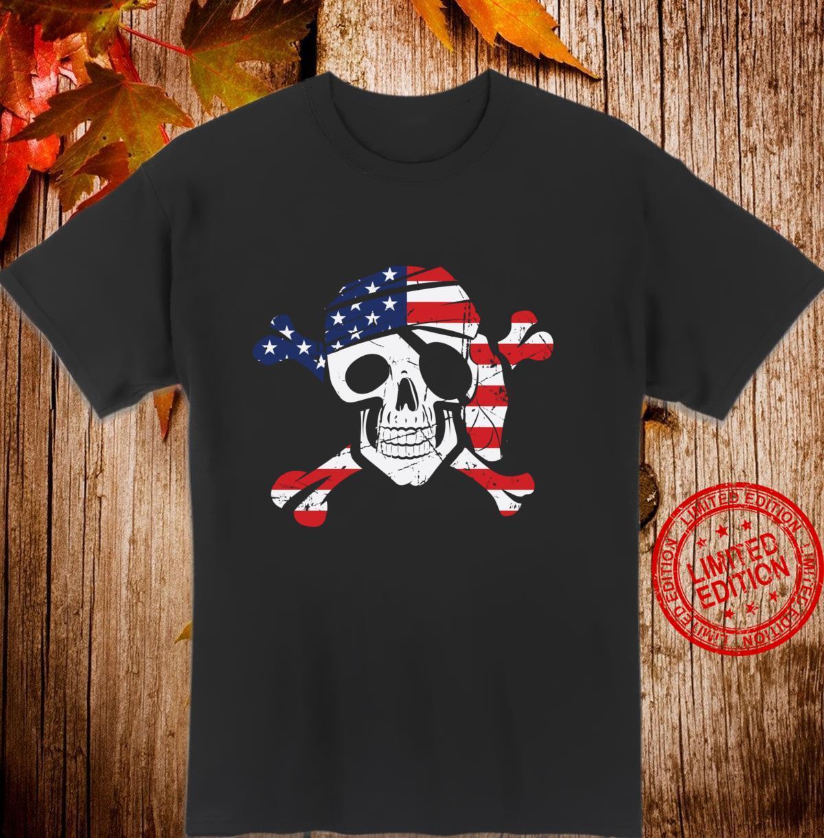 American Flag Patriotic Pirate Skull And Crossbones Langarmshirt Shirt
