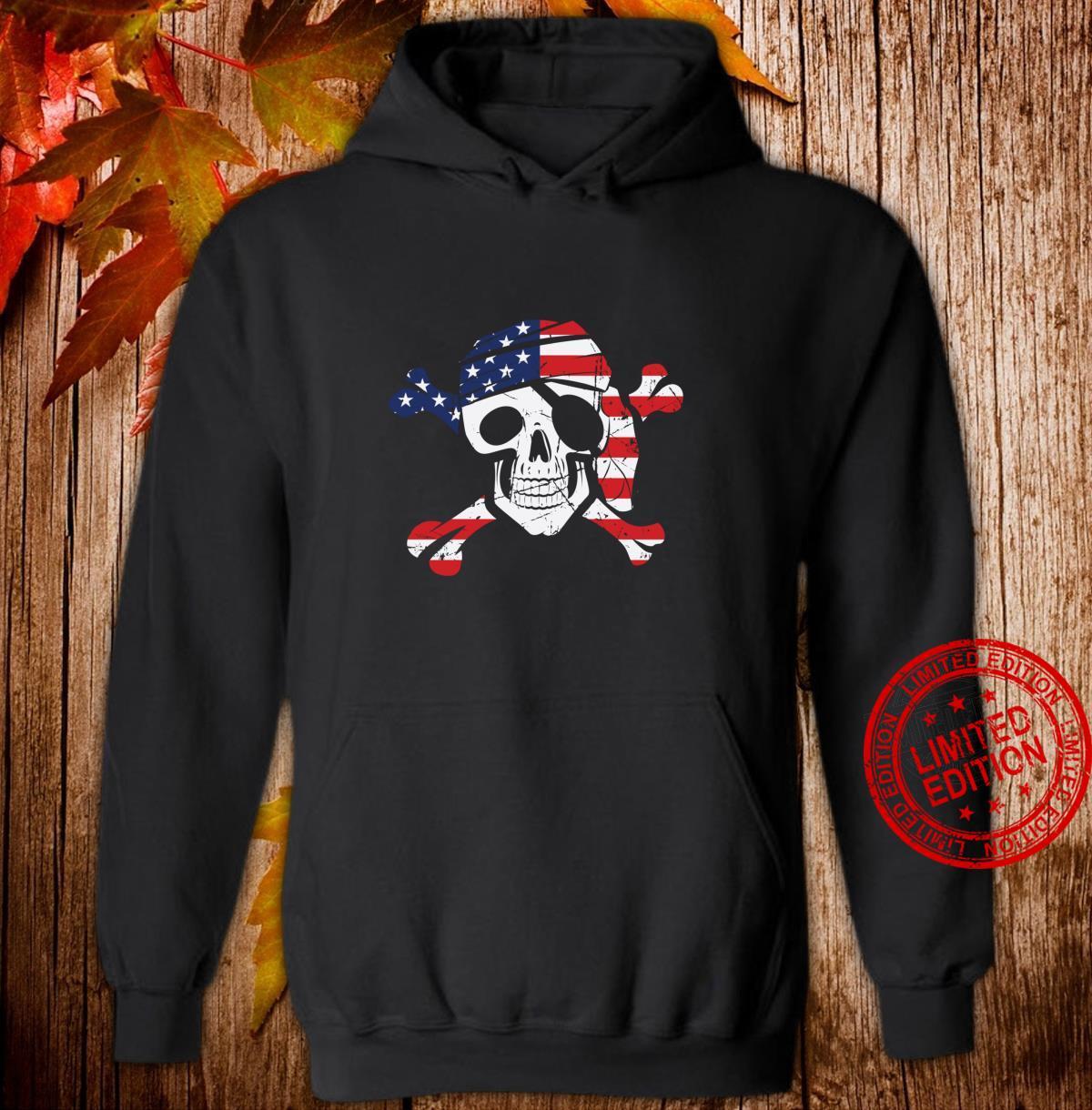 American Flag Patriotic Pirate Skull And Crossbones Langarmshirt Shirt hoodie