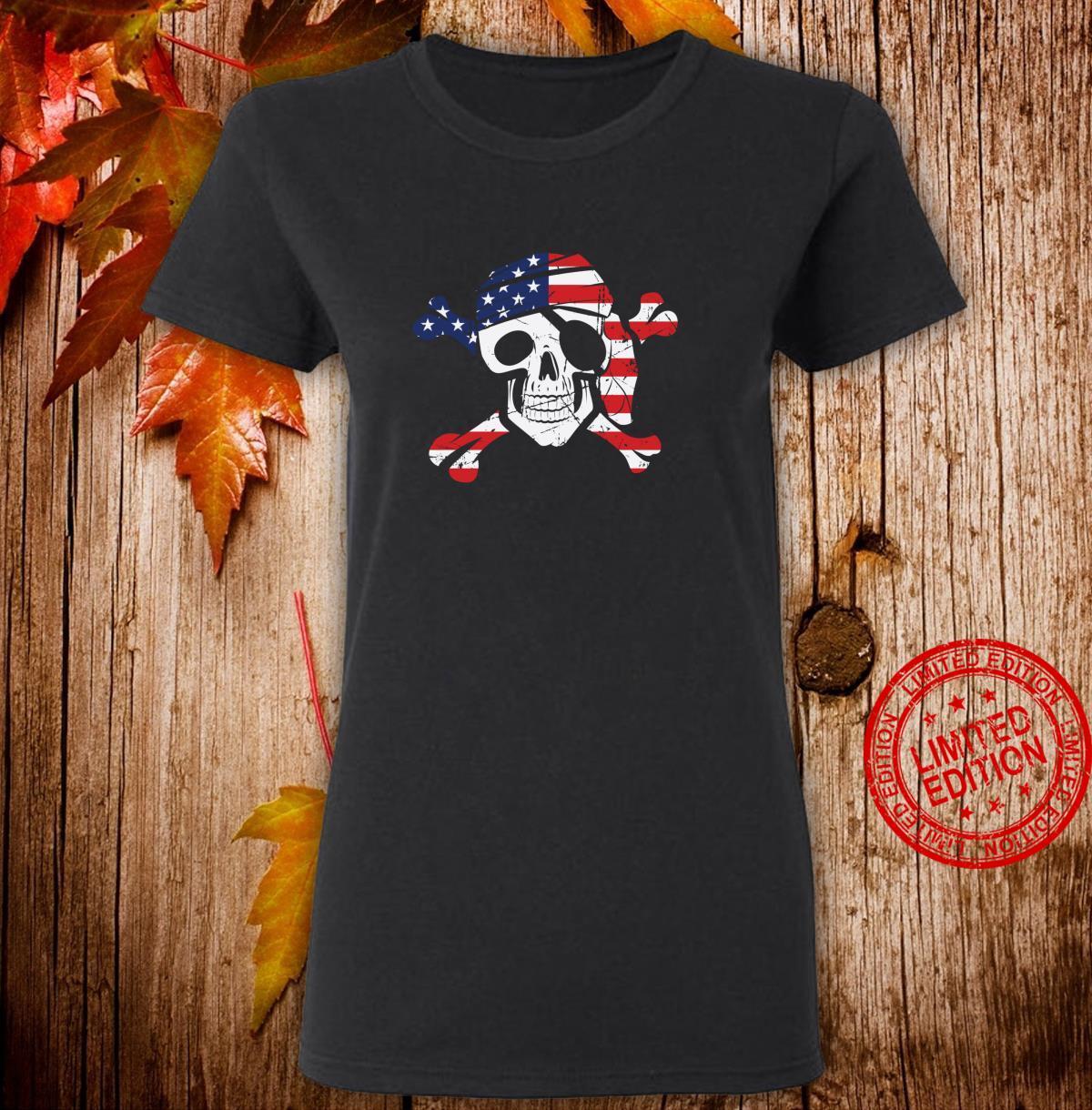 American Flag Patriotic Pirate Skull And Crossbones Langarmshirt Shirt ladies tee