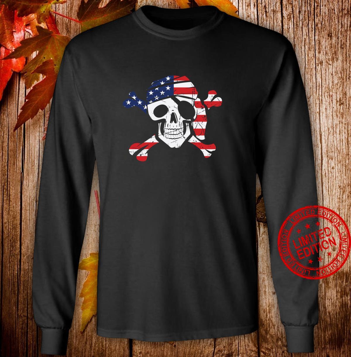 American Flag Patriotic Pirate Skull And Crossbones Langarmshirt Shirt long sleeved