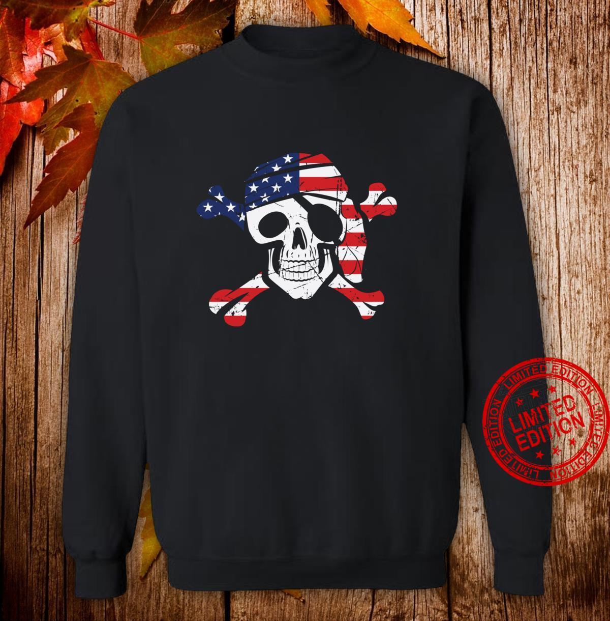 American Flag Patriotic Pirate Skull And Crossbones Langarmshirt Shirt sweater
