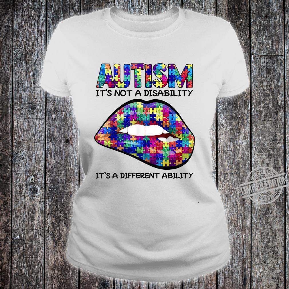 Autism Puzzle Print Lips Autism Awareness Shirt ladies tee