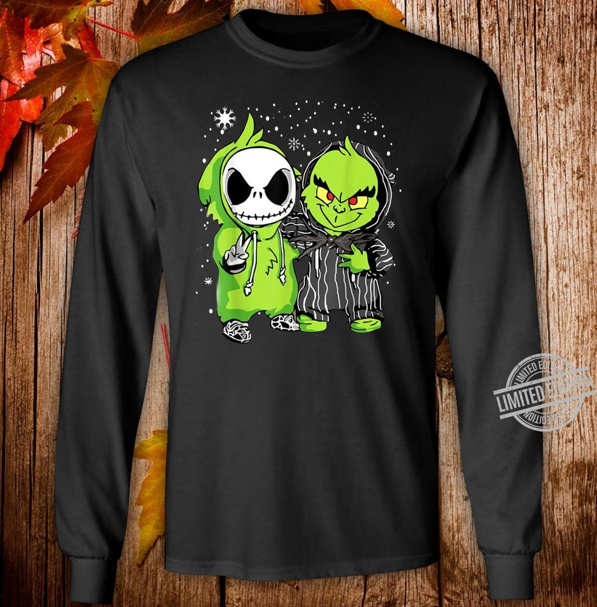 Baby Grinch And Jack Skellington Winter Christmas Shirt long sleeved