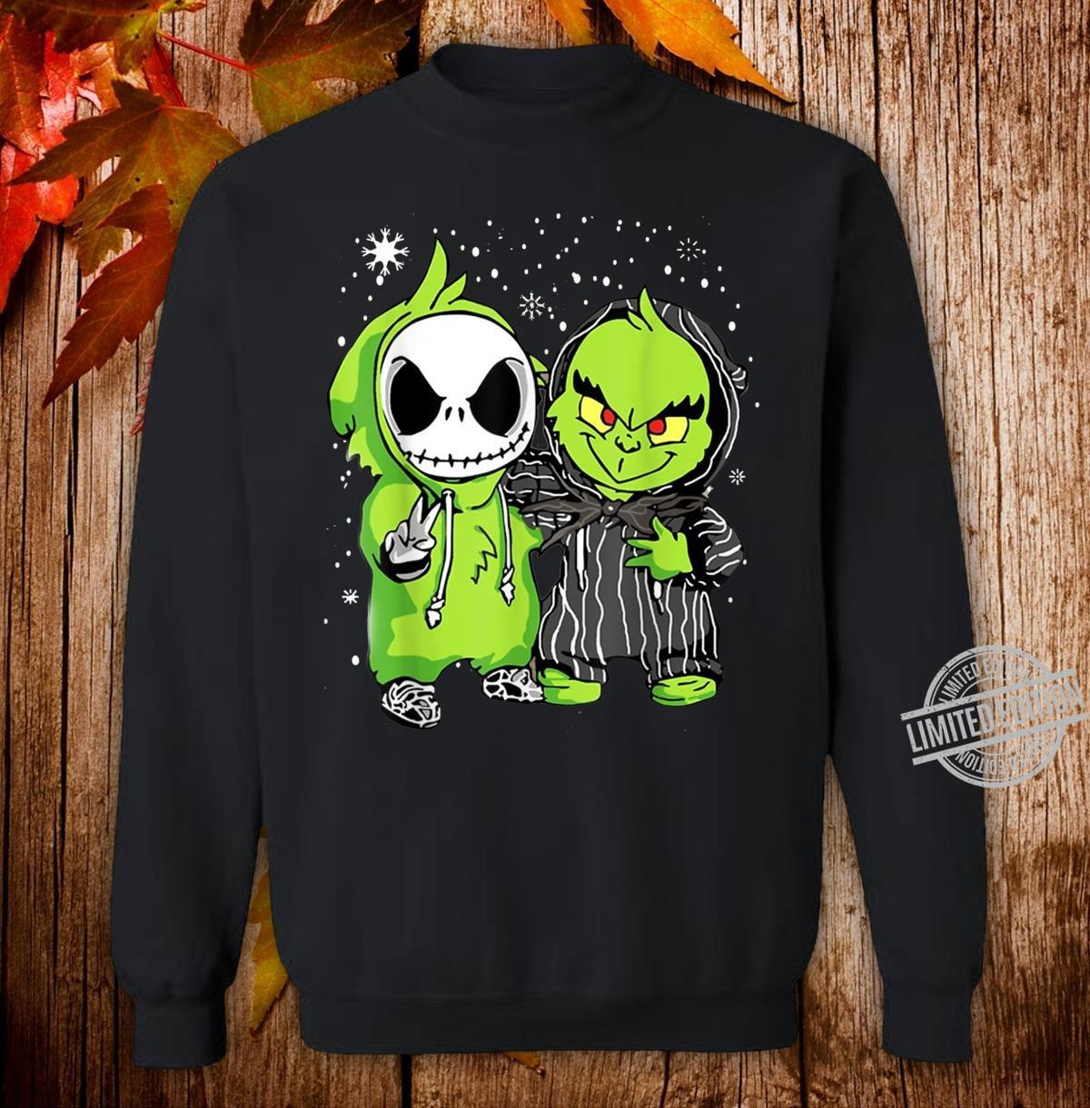 Baby Grinch And Jack Skellington Winter Christmas Shirt sweater
