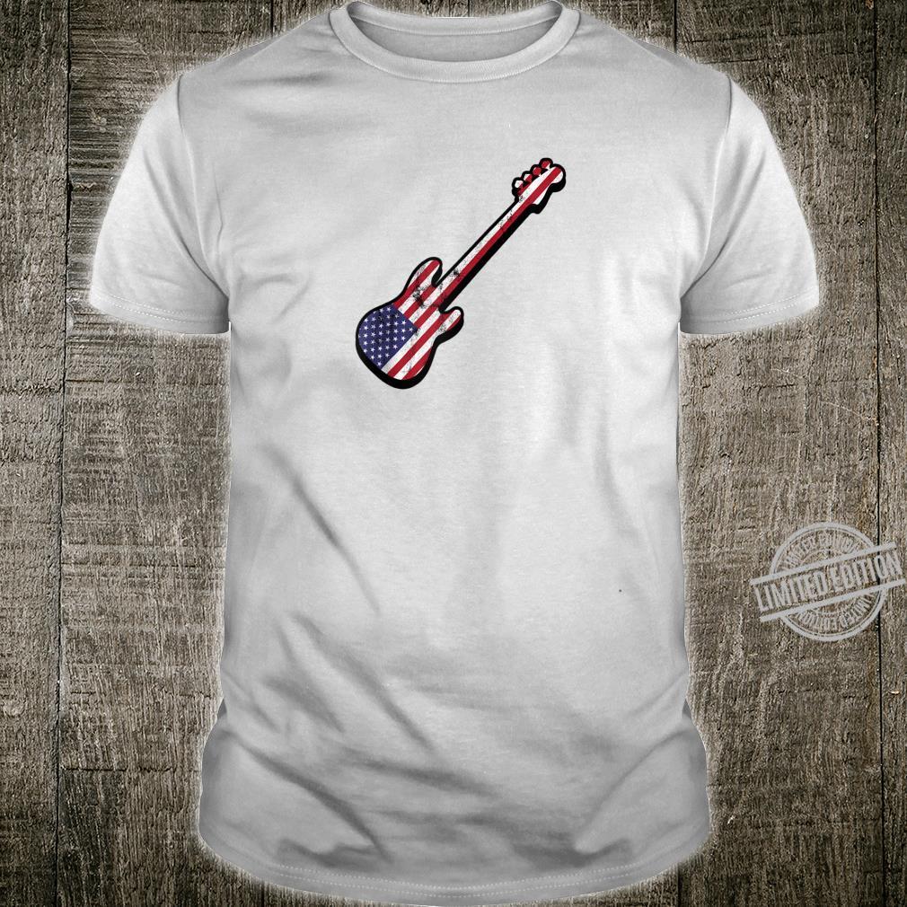 Bassist American Flag Bass Guitar USA America Silhouette Shirt