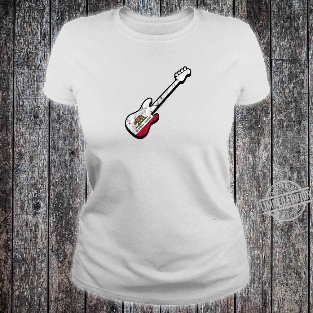 Bassist Californian Flag Bass Guitar California Silhouette Shirt ladies tee