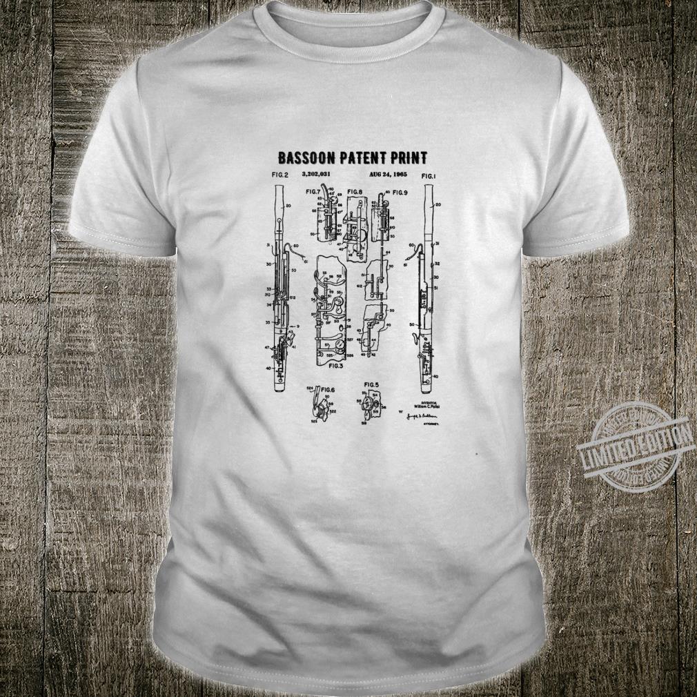 Bassoon Patent Print 1965 Vintage Patent Music Art Shirt