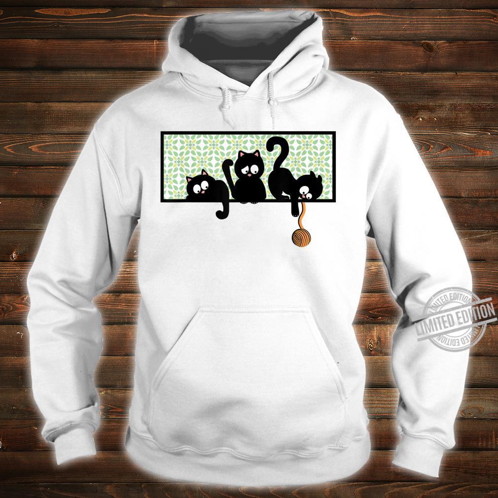 Black Cat Kittens Playing on Shelf w Yarn Kid Shirt hoodie