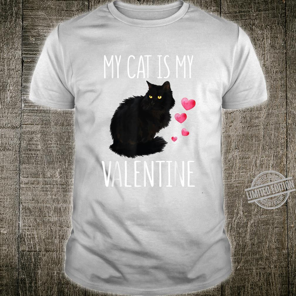 Black Cat Shirt For Valentine's Day My Cat Is My Valentine Shirt