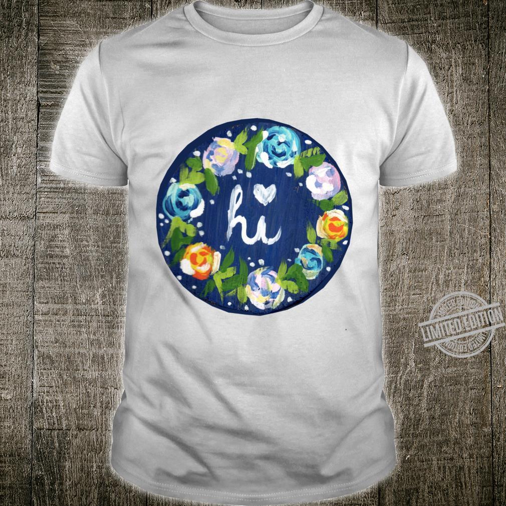 Blue Hi Floral Baseball ¾ Sleeve Shirt