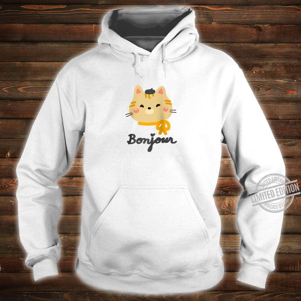 'Bonjour' Cute Kitty Cat with Beret Shirt hoodie