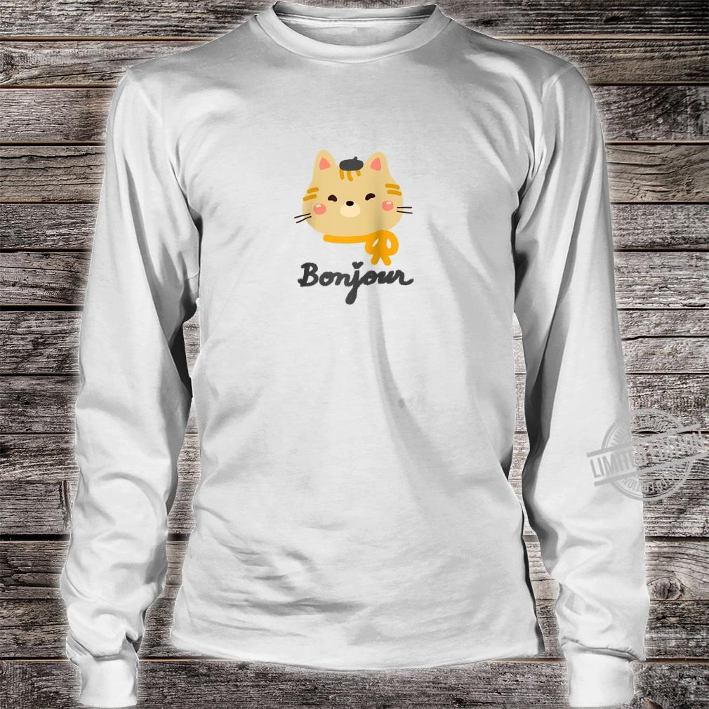 'Bonjour' Cute Kitty Cat with Beret Shirt long sleeved