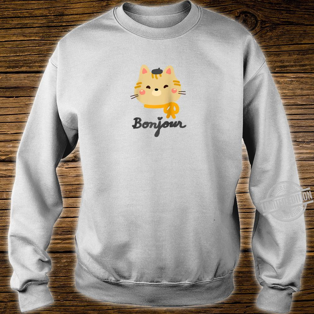 'Bonjour' Cute Kitty Cat with Beret Shirt sweater