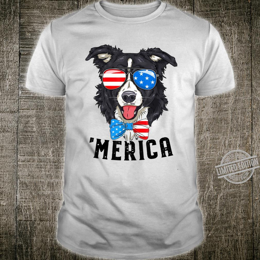 Border Collie Patriotic Merica 4th July American Shirt