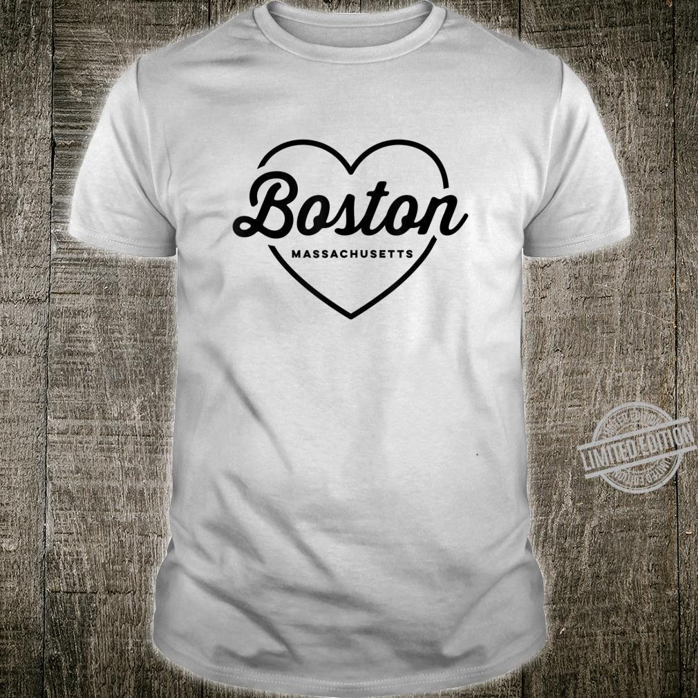 Boston Love Heart Retro Script Travel America Shirt